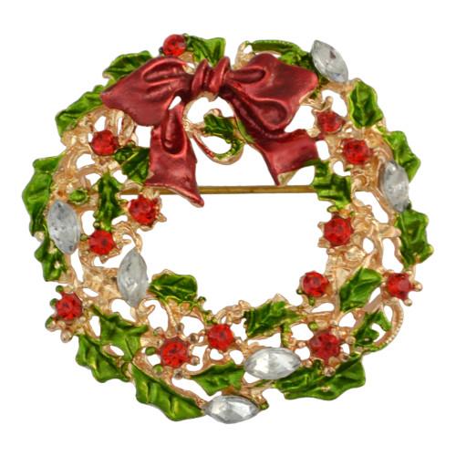 P-0337 Christmas Gift Cartoon Clothing Corsage Crystal Rhinestone Santa Claus Christmas Tree Brooch Pin