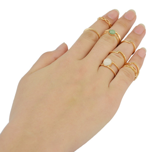 R-1396 9 Pcs/set  Fashion Goldplated Resin Beads Knuckle Rings Midi Ring Women Jewelry