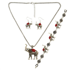 N-6450 New Fashion Design Full set  Silver Plated Elephent Shape Tassel Carving Turquoise Earring and Necklace with Bracelet Jewelry Set