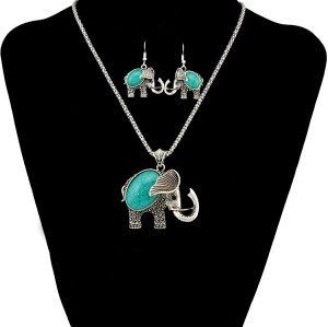 N-6445 Free Shipping Exaggerated Silver Plated Big Green Turquoise  Full Set Carving Elephent Shape  Necklace and Earrings With Bracelets Jeweley Set
