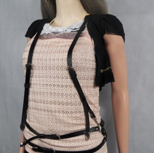 N-6470 Women Fashion Punk Style Black&Brown Leather Body Harness Body Chain Jewelry Sexy Girls Multilayer Chain Body Jewelry