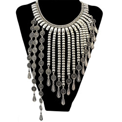 N-6447 Bohemian Silver plated Fashion Necklace with long coin shape Tassels collar For Women Jewelry