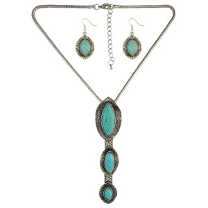 N-6444 Vintage Silver Natural Turquoise Statement Pendant Necklace Earring Set for Women