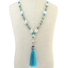 N-6446 Bohemian Vintage Rope Natrul Shell Wood Beads Pendant Necklace Jewelry