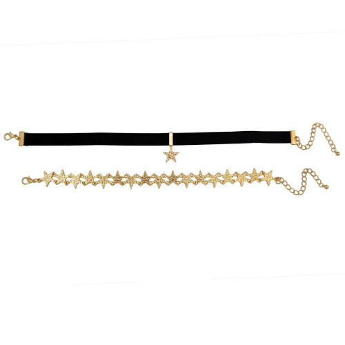 N-6454 Gold Stars Choker Necklace and Black Velvet Necklace Choker with Pendant, Set of 2
