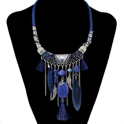 N-6467 Bohemian Fashion Silver Plated Leather Chain Resin Beads Natrual Stone Feather Tassel Necklace Jewelry