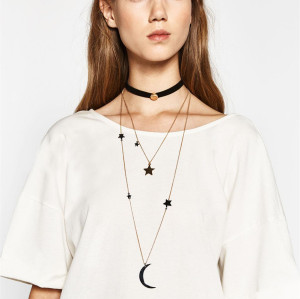 N-6453 2Pcs/set Delicate Design Gold Plated  Star & Moon Pendant Necklaces Black Leather Chain Choker Necklace Women Jewelry