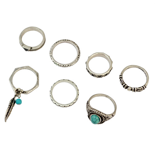 R-1408 7Pcs/set Bohemian Turkish Silver Natural Turquoise Finger Nail Midi Rings Leaf Alloy Knuckle Rings For Women Jewelry