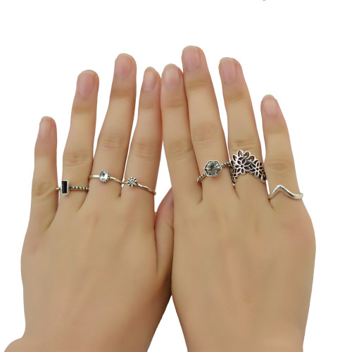 R-1406 6pcs/Set Fashion Wholesale price Silver Plated Alloy Hollow out Carved Flower Shape With Crystal Gypsy Punk Finger Rings Set Jewelry