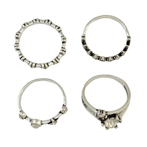 R-1405 4Pcs/set Gypsy Silver Fashion Ring Hollow Out Crystal Rhinestone Knuckle Nail Midi Finger Rings For Women Jewelry