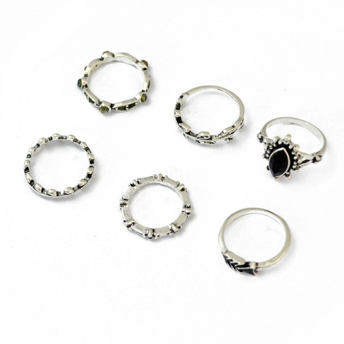 R-1404 Boho Style Vintage Silver Plated Alloy Leaf Shape with Resin Knuckle Nail Midi Rings Set Jewelry 6Pcs/Set