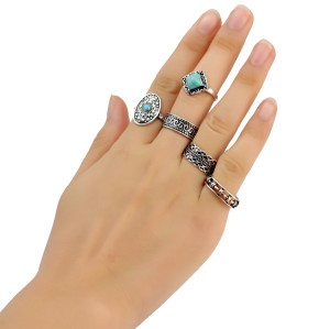 R-1409 Fashion Vintage Silver Gypsy Joint Knuckle Nail Turquoise Midi Ring Set 5 Rings Women's Jewelry