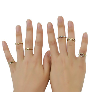 R-1402 Fashion Vintage Brozen Gypsy Joint Knuckle Nail Turquoise Midi Ring Set 6Rings Women's Jewelry