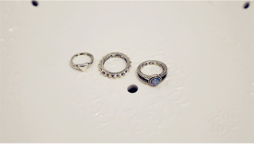 R-1414  6pc/lot Vintage style silver plated crystal rings set for Women Jewelry