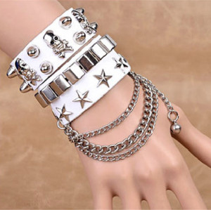 B-0810 2pcs/set Fashion Bohemia 2 styles 3 Colors Carving Five-pointed star  with Chain and Skull Shape Silver  Leather Cuff Bangle Bracelets Can be Adjustable