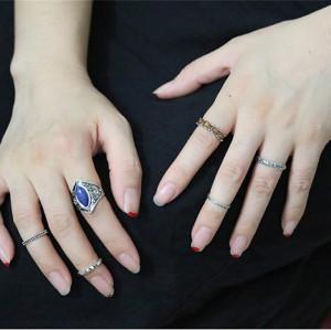 R-1413  6 Pcs/set Bohemian Vintage Silver Plated Carved Flower Blue Gem Finger Ring Set For Women Jewelry