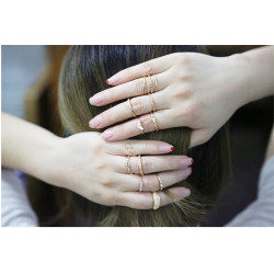 R-1411  12Pcs/Set European Style Gold Plated Alloy Hollow Out Flower Shape Carved Crystal Knuckle Nail Finger Midi Rings Set Jewelry