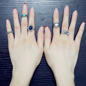 R-1410 5Pcs/Set Bohemian Vintage Style  Silver Plated Alloy Turquoise Resin bead Knuckle Nail Midi Rings Set Jewelry