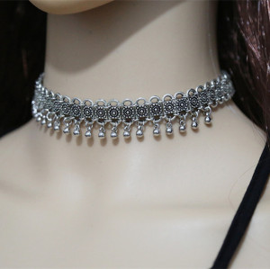 N-6460 Fashion Silver Plated Carving Metal bib Choker Necklace Jewelry for Women