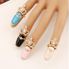 R-1356  Fashion Nail Ring Charm Goldplated Crown Shape Rhinestone Nail Ring for Women Jewelry