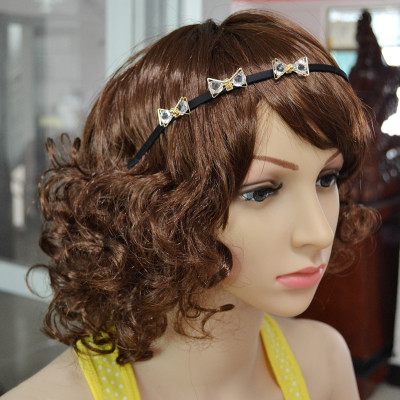 F-0367 Fashion Gold Plated Head Hoop Bowknot Crystal Stone Hair Jewelry For Women Girl Hair Accessories