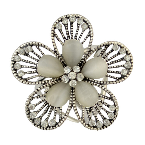 P-0339 Boho Style Vintage Gold Silver Plated Alloy  2 Colors Charm With Rhinestone Flower Shape Scarf Buckle Brooch Women & Girl Accessory