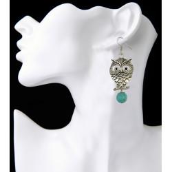 E-3888 Fashion Silver Plated Turquoise Beads Owl Shape Dangle Earring for Women Jewelry