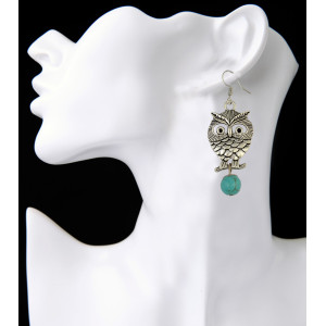 E-3888 Fashion Silver Plated Turquoise Beads Owl Shape Dangle Earring for Women Jewelry