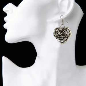 E-3887 Bohemian Vintage Silver Plated Flower shape pendant Earring Hook Earrings for Women