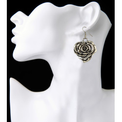 E-3887 Bohemian Vintage Silver Plated Flower shape pendant Earring Hook Earrings for Women