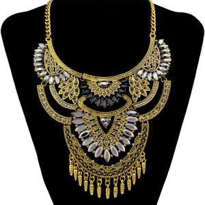 N-6475 Bohemian Gold Inlay Resin Flower Statement Choker Trendy Turkish Moon Shape Tassel Necklace Jewelry