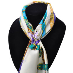 P-0340 2 Colors New Fashion Gold Plated Charm Rhinestone Butterfly Scarf Buckle Brooch Women Accessories
