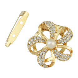 P-0341 Boho Style Vintage Gold Silver Plated Alloy 2 colors pearl with Flower Shape crystal Scarf Buckle Brooch Women & Girl Accessory