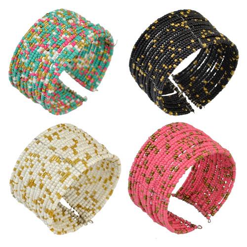 B-0815 4 Colors Choice Bohemian Style Handmade 17 Layers Set Colorful beads Cuff