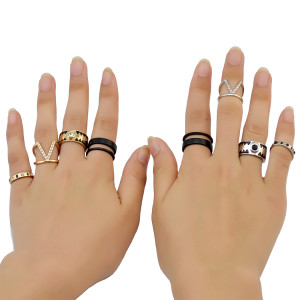 R-1420  4 Pcs/set Bohemian Vintage Style Gold Silver Plated Crystal Ring Set for Women Jewelry