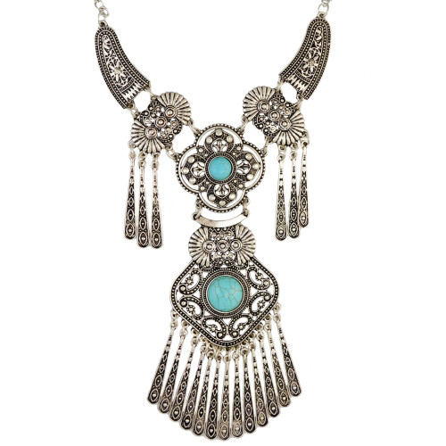 N-6490 Vintage Silver Plated Natural Turquoise Beads Hollow Out Flower Tassel Pendant Necklace