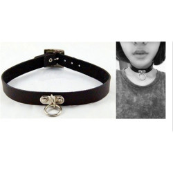 N-6487 Punk Style Black & White PU Leather Silver Round Pendant Gothic Choker Necklace Women Jewelry