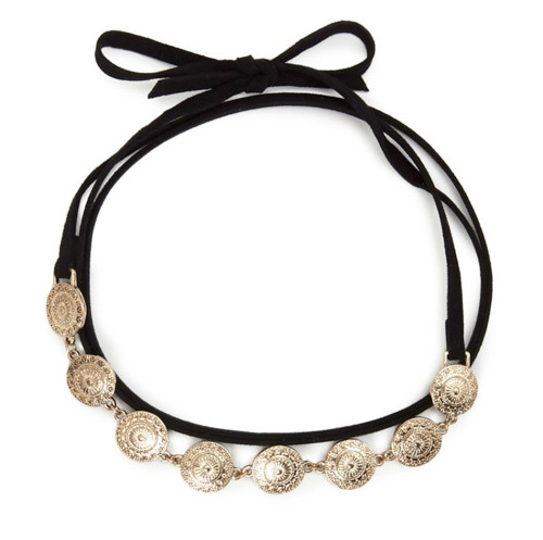 N-6486 Fashion Style Gold Plated Black Long Leather Chain Pendant  Necklace for Women Jewelry