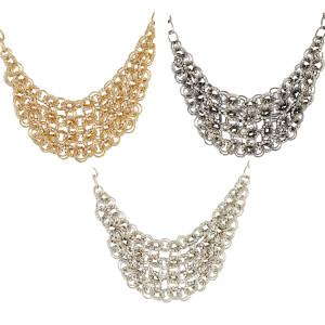 N-1321 3 Colors Charming Gold/Silver/Gun-black Rhinestone Flower Circle Link Choker Necklace N-1321