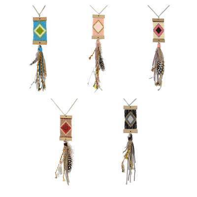 N-6484 5 Colors Bohemian Silver Fashion Necklaces Resin Beaded feather Chain Tassel Turkish Necklace Jewelry