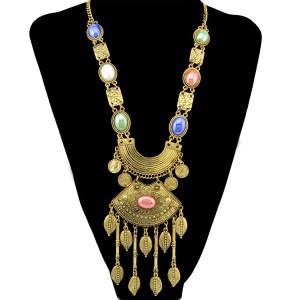 N-6493 Bohemian Gold Silver Fashion Necklace Inlay Resin Gem Leaf Shape Tassel Necklaces Women Jewelry