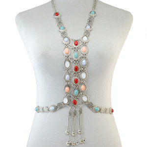 N-6494  Fashion Women Summer Beach Silver Chain Charm Sexy Body Chain Resin Flower Crystal Rhinestone Necklace Jewelry