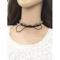 N-6496 bohemian vintage style gold plated black leather chain flower shape crystal pendant necklace for women jewelry