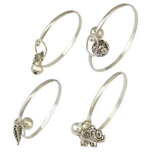 B-0820 Bohemian Silver Elephant & Fish & Flower Shape Bell Pendant Cuff Bangle Bracelets For Women Jewelry