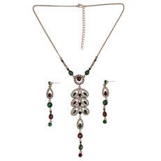 N-6502 Bohemian Vintage Ethnic Leaf Shape Choker Necklace Crystal Rhinestone Resin Tassel Necklaces Earrings For Women Set Jewelry