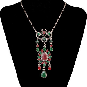 N-6501 New Design Silver Plated Alloy Inlay Rhinestone Gem Stone Flower Shape Pendant Necklaces Earrings Jeweley Set For Women Accessory