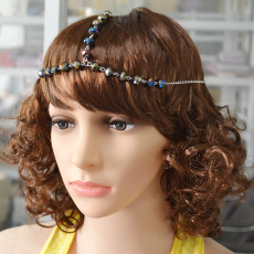 F-0375 new fashion 3 Colors resin beads silver plated alloy chain hairband hair jewelry for women accessory