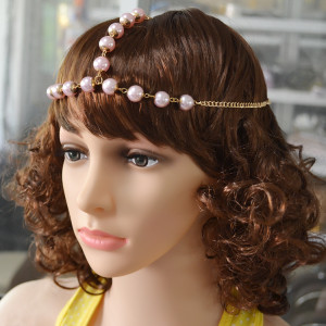 F-0374 New Fashion Pink Beads Goldplated Alloy Chain Hairband Head jewelry for women Accessory