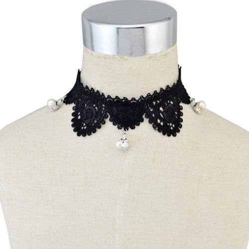 N-6498  Women's Fashion Sexy Black Lace Choker Necklace for Party