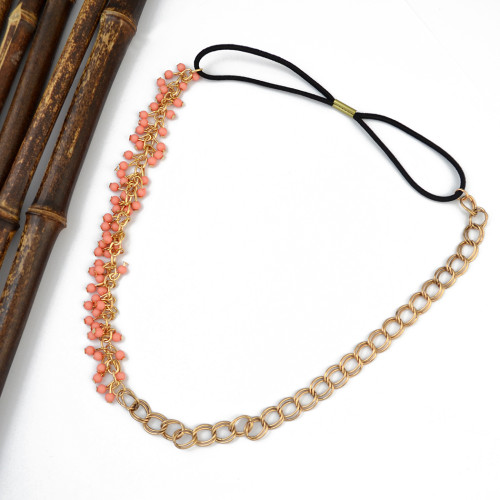F-0373 bohemian vintage style gold plated resin beads black leather chain necklace for women jewelry